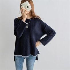 PEPER - Drop-Shoulder Dip-Back Knit Top