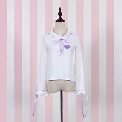 GOGO Girl - 套装: 荷叶边蝴蝶结上衣 + 裙子