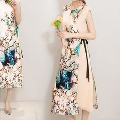 Diosa - Floral Print Sleeveless Organza Dress