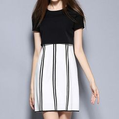 Merald - Short Sleeve Striped Mock Two-Piece Dress