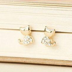 Bmuse - Rhinestone Cat Earrings