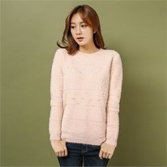 Styleberry - Faux-Pearl Trim Furry Sweater