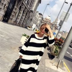 RUI - Long-Sleeve Striped Knit Dress