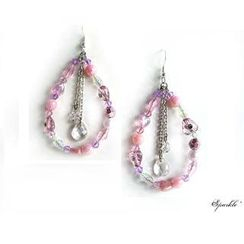 Fit-to-Kill - Pink tear drop earrings
