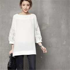 HALUMAYBE - Boat-Neck Lace Balloon-Sleeve Top