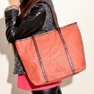 19th Street - Contrast-Trim Croc-Grain Tote