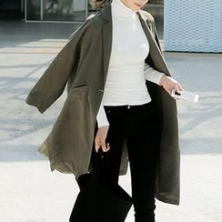 Seoul Fashion - Single-Breasted Long Trench Coat
