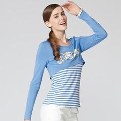 O.SA - Set: Long-Sleeve Cropped Top + Striped Tank Top