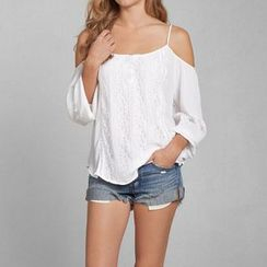 Chika - Cutaway-Shoulder Lace-Panel Blouse