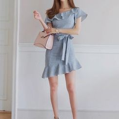 Aurora - 露肩荷叶塑身连衣裙