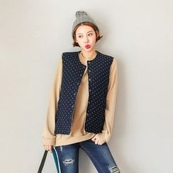Seoul Fashion - Snap-Button Dotted Padded Vest