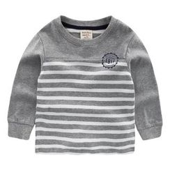 lalalove - Kids Stripe Panel Long-Sleeve T-shirt