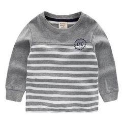lalalove - 童裝條紋拼接長袖T恤