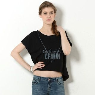 59 Seconds - Cropped Dip-Back Print T-Shirt