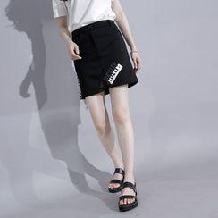 Sonne - Mesh-Panel Lettering Pencil Skirt