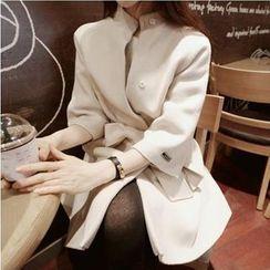 mokuchobi - 3/4-Sleeve Tie-Waist Cashmere Coat
