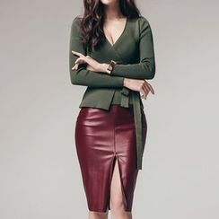 Aurora - Faux-Leather Midi Skirt