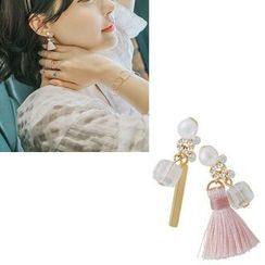 Aiyori - Faux-Pearl Non-Matching Earrings