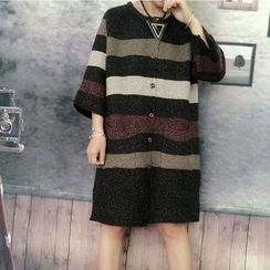 Ranche - Striped 3/4-Sleeve Long Cardigan