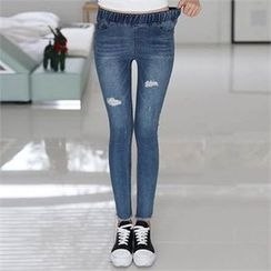 CHICFOX - Band-Waist Distressed Jeans