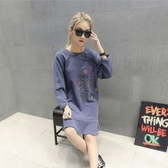 Ranche - Print Long Sleeve Ruffle Hem T-Shirt Dress