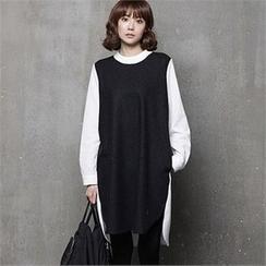 HALUMAYBE - Color-Block Shift Dress