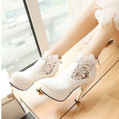 Blingon - Lace Panel High-heel Ankle Boots