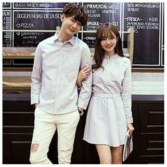 Azure - Women Striped Matching Couple Shirtdress / Men Striped Shirt