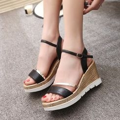 Chryse - Faux-Leather Ankle-Strap Wedge Sandals