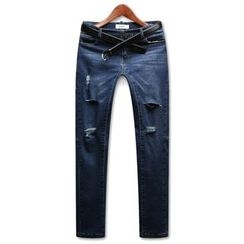 Seoul Homme - Distressed Slim-Fit Jeans