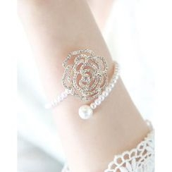 Miss21 Korea - Openwork Rose Faux-Pearl Open Bangle