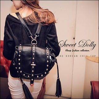Sweet Dolly - Faux-Leather Studded Tassel-Accent Backpack