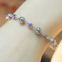 Kitty Kiss - 925 Sterling Silver Crystal Bracelet