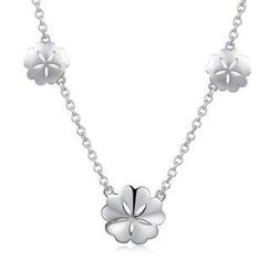 Bling Bling - Bling Bling Platinum Plated 925 Silver Cherry Blossom Necklace (16')