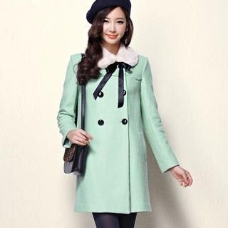 Moonbasa - Faux-Fur Collar Double-Breasted Coat