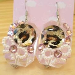 Fit-to-Kill - Dazzling diamonds with animal pattern with ribbon earrings