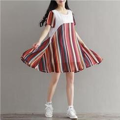 MayFair - Chiffon Panel Stripe Short-Sleeve Dress