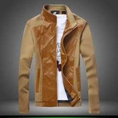 Alvicio - 仿皮拼接拉鏈夾克