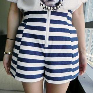 Mayi Ayamo - High-Waist Strip Shorts