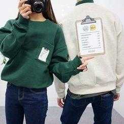 Seoul Homme - Couple Printed Brushed-Fleece Lined Sweatshirt