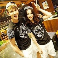 Evolu - Short-Sleeve Tiger Print Couple T-Shirt