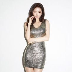 chuu - V-Neck Sleeveless Glitter Bodycon Dress