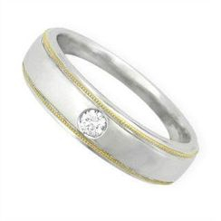 Keleo - Tailor-made 18K White & Yellow Gold Ring with Diamonds