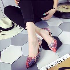 QQ Trend - 编织尖头高跟鞋