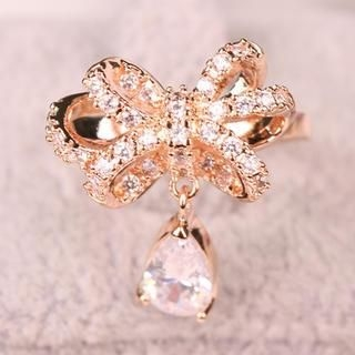 Supermary - Jeweled Rhinestone Bow Ring