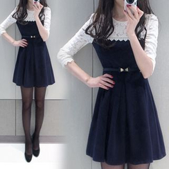HotBlock - Mock Two-piece Lace Pleated Dress