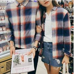 以路 - 情侶款格紋長袖襯衫