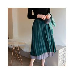 LEELIN - Layered-Hem Pleated Long Skirt
