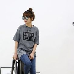 Seoul Fashion - Round-Neck Lettering T-Shirt