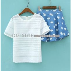 YOZI - Set: Short-Sleeve Sheer Top + Cloud Print A-Line Skirt